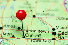 Grinnell pinned on a map of Iowa, USA Kuvituskuvat