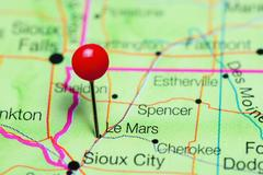 Le Mars pinned on a map of Iowa, USA Kuvituskuvat