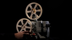 Starting and stopping of the work of the projector Stock Footage