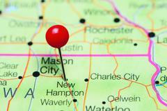 New Hampton pinned on a map of Iowa, USA Stock Photos