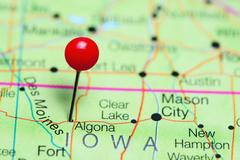 Algona pinned on a map of Iowa, USA Kuvituskuvat
