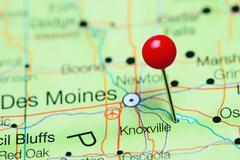 Knoxville pinned on a map of Iowa, USA Kuvituskuvat