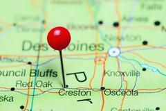 Creston pinned on a map of Iowa, USA Kuvituskuvat