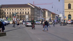 BICYCLES CYCLISTS RESIDENZSTRASSE MUNICH GERMANY Stock Footage