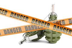 Danger caution barrier tapes with two grenades, 3D rendering Stock Illustration