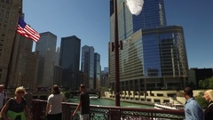 Drive over bridge and canal featuring Trump Building in Chicago. Stock Footage