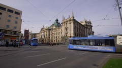 PALACE OF JUSTICE BLUE TRAMS MUNICH GERMANY Stock Footage