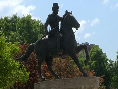 Horse rider statue in the center  Macedonia, Skopje Stock Footage