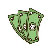 Cartoon money bills dollar cash Stock Illustration