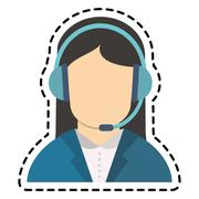 Isolated operator woman with headphone design Stock Illustration