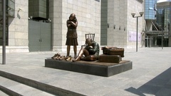 Sculpture in front of Holocaust Memorial Center, Macedonia, Skopje Stock Footage