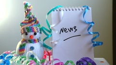 Winter News with snowman as media concept Stock Footage