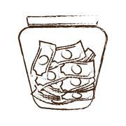 Money saving money glass sketch Stock Illustration