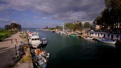 FISHING BOATS HARBOUR GEORGIOUPOLI CRETE GREECE Stock Footage