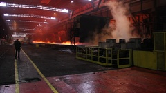 Industry Steel Making  Hot Slab plate Are Rolling Stock Footage