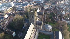 Panning aerial view of Worcester Cathedral, UK. Stock Footage