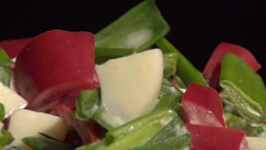 Salad of eggs, scallions and bell pepper Stock Footage