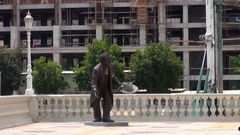 Statue of a man on the square Stock Footage