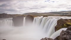 Time lapse at Goðafoss waterfalls Stock Footage