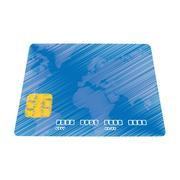 Hand draw blue credit card pay bank transaction color Stock Illustration