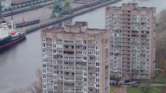 Depressive view of slum apartment houses in poor area or quater near river Stock Footage