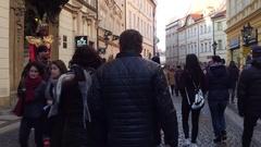 PRAGUE, CZECH REPUBLIC - DECEMBER 3, 2016. 4K steadicam shot of street crowded Stock Footage