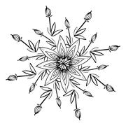 Beautiful flower in black and white Stock Illustration