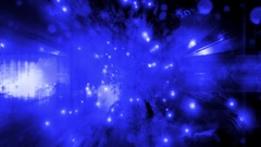 Blue black cosmic nebula particle looping motion design Stock Footage
