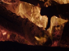 Burning Camp Fire, The bonfire is lit at night. Close Up, Slow Motion Arkistovideo