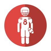 American football player with helmet and ball shadow Stock Illustration