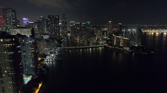 Aerial Brickell Key night video Stock Footage