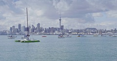 Aerial view of boats in Auckland harbour & city skyline, New Zealand Stock Footage