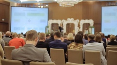 Business Conference and Presentation. Audience at the conference hall Stock Footage
