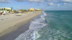 Aerial footage waves on Hollywood Beach 4k 60p Stock Footage