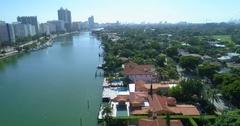 Indian Creek Miami Beach aerial video Stock Footage