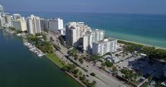 Condominiums in Miami Beach aerial video Stock Footage