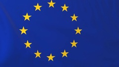 Flag of EU waving in the wind, seemless loop animation Stock Footage