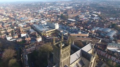 Static aerial view of Worcester, UK. Stock Footage