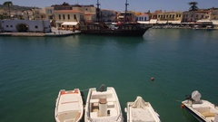 SPEED BOATS HARBOUR RETHYMNON CRETE GREECE Stock Footage