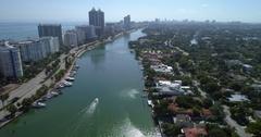 Aerial Miami Beach La Gorce Island Indian Creek 4k 60p Stock Footage
