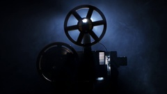 Old vintage movie projector. Side view Stock Footage