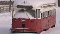 Old retired TTC PCC streetcar sits in farm field Stock Footage