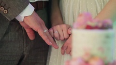 Newlyweds showing rings with focus changing to beautiful decorated wedding cake  Stock Footage