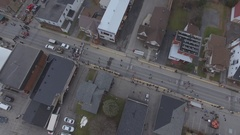 Aerial view of street hockey festival Stock Footage