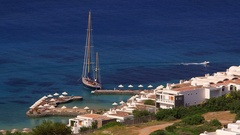 YACHT IN MIRABELLO BAY ELOUNDA CRETE GREECE Stock Footage