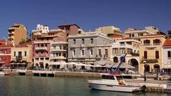 PLEASURE CRUISE BOAT IN AGIO NIKOLAOS CRETE GREECE Stock Footage