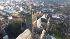 Aerial reveal of Worcester Cathedral, UK. Stock Footage