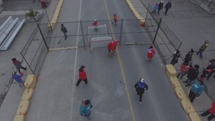 Aerial view of street hockey Stock Footage