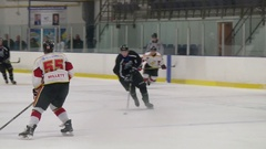 Hockey goal comes from nice pass Stock Footage