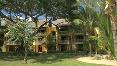 Tropical resort with hotels and palm garden, Mauritius Stock Footage